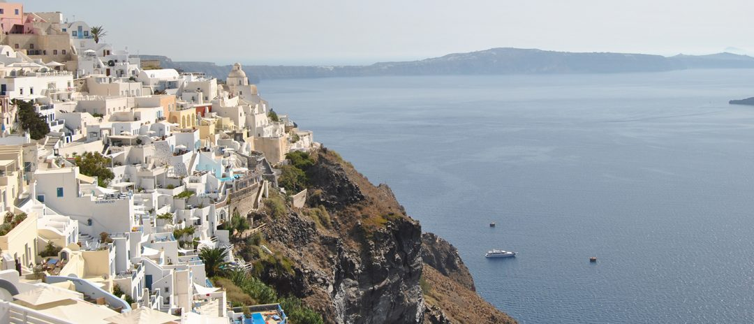 Buildings on the bluff in Greece