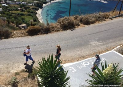 Starting a walk from the hotel in Amorgos, Greece