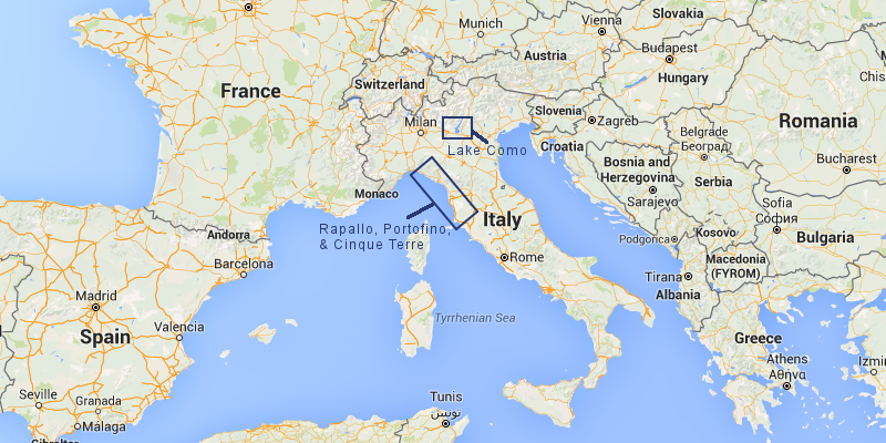 Map of Blue Walk Italy walking tours vacation region: Italian Riviera and Lake Como