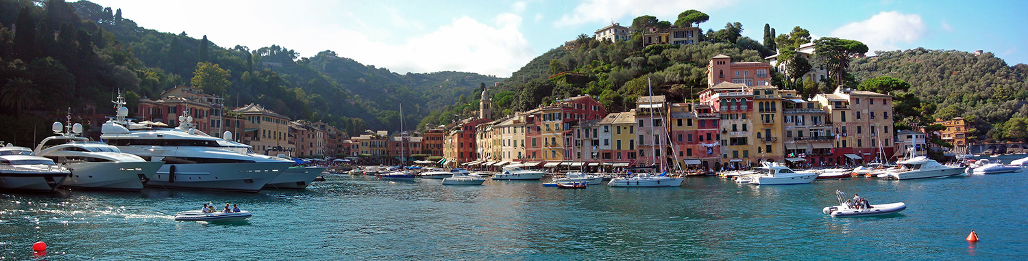 Panoramic view of Portofino, Blue Walk Italy walking tours and walking vacations