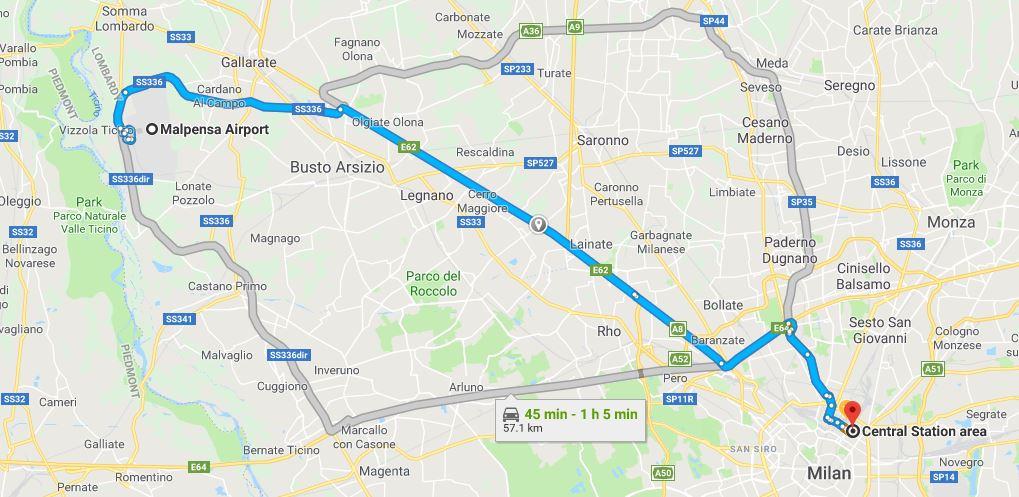 Map Malpensa Airport to Milano Centrale
