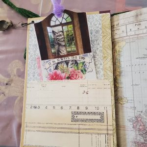 Kat Kirby Keepsake travel journal page art workshop