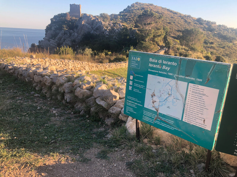 Bay of Ieranto Walking Path Sign
