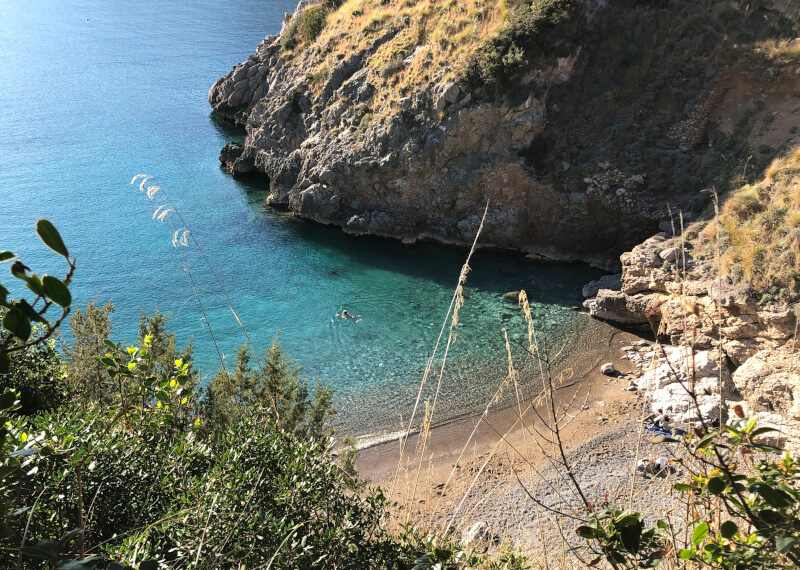 Walking on the Sorrento Peninsula Bay of Ieranto Italy Swimmer