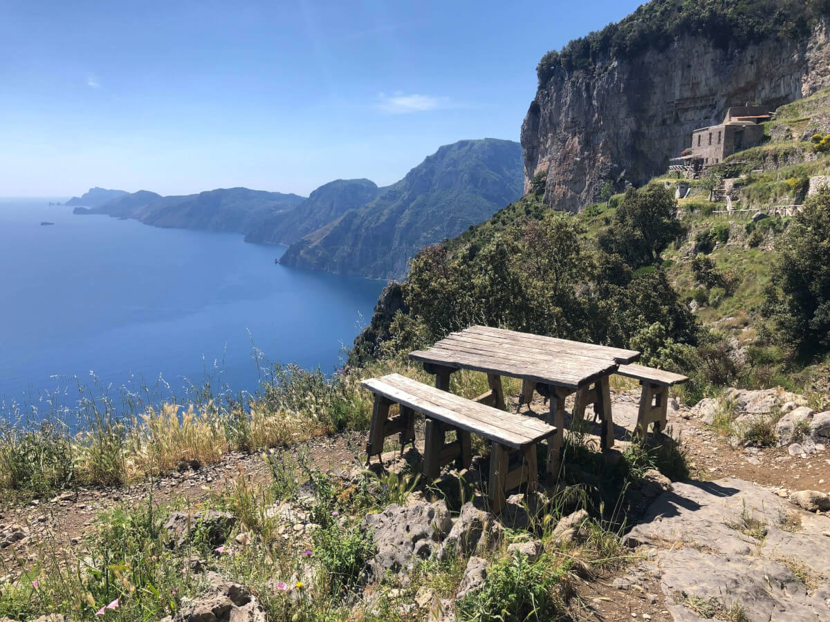 picnic table walking the path of the gods vacation Amalfi Coast Italy