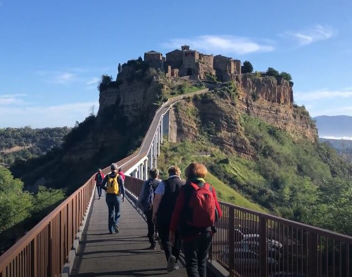 Walking to Civita di Bagnoregio Umbria Italy
