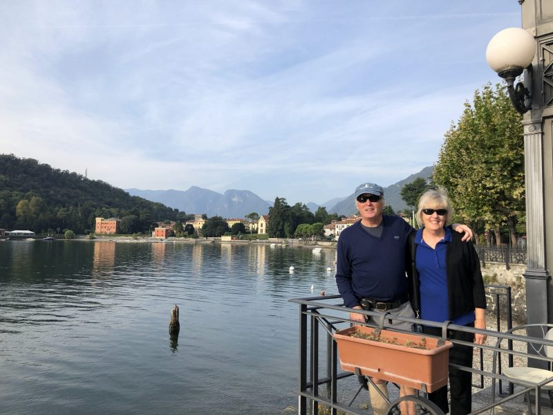 Couple by a lake Lenno Lake Como Italy walking tour vacation